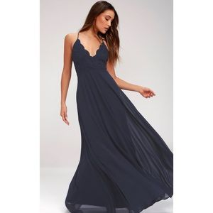 NWOT Lulu's Madalyn navy blue lace maxi dress